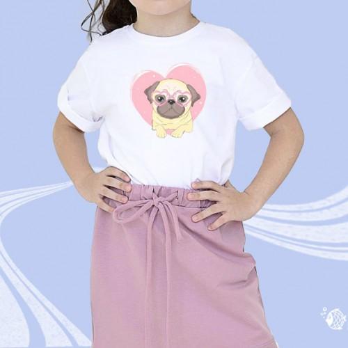 """Детская футболка с принтом """"Собачка в сердечке"""""""