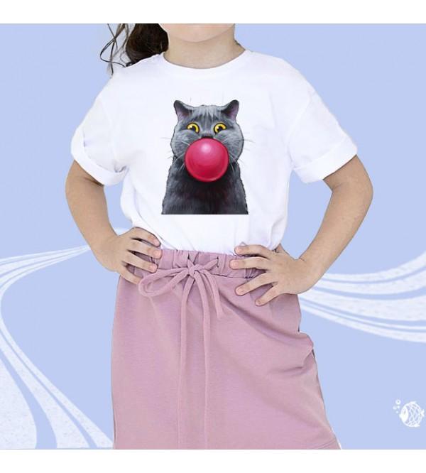 """Детская футболка с принтом """"Кошка с шаром"""""""