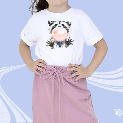 """Детская футболка с принтом """"Енот с шаром"""""""
