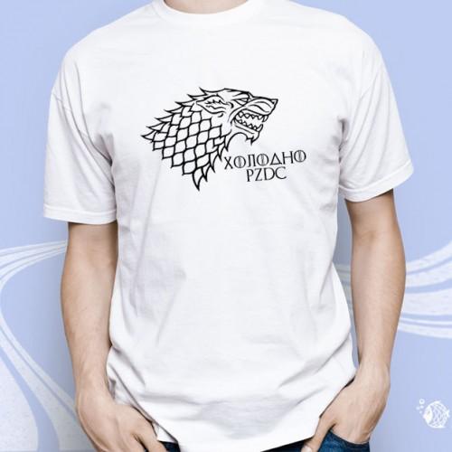 """Мужская футболка с принтом """"Холодно PZDC"""""""