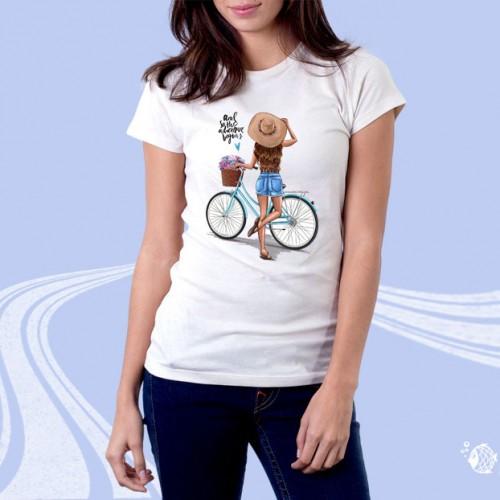 """Футболка женская с принтом """"Девушка с велосипедом"""""""