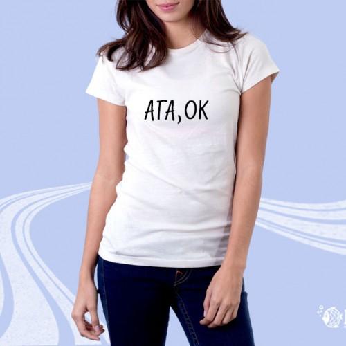 """Женская футболка с надписью """"Ага, ОК"""""""