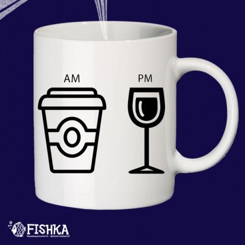 """Чашка с принтом """"AM PM"""""""