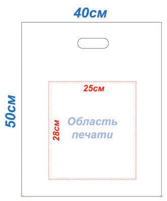 Макет 48x58 под пакеты с печатью Банан методом шелкографии