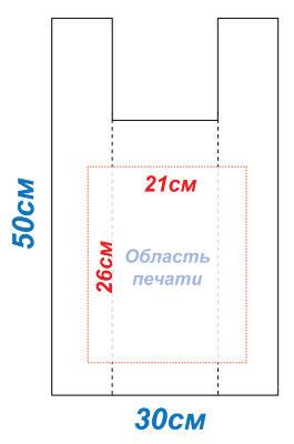 Макет 30x50 под печать для пакетов Майка методом шелкографии