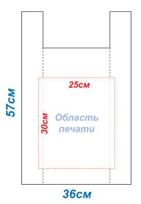 Макет 36x57 под печать для пакетов Майка методом шелкографии