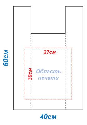Макет 40x50 под печать для пакетов Майка методом шелкографии